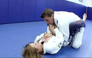 Ultra-Kinky Karate college girls smashes with her trainer after a superb karate session