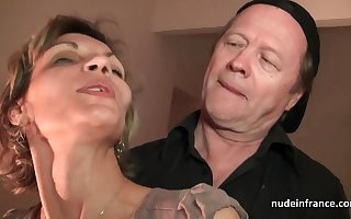 Older knob and youthfull pipe drill French mature and sploog her face with spunk in threesome